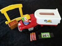 FISHER PRICE LITTLE PEOPLE RARE TRUCK AND TRAILER WITH SOUNDS AND FIGURE, extras