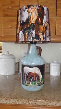 Folk Art Table/Desk Lamp Rustic/Country/Cabin ( Cotton Horses Shade)
