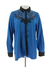 Bob Mackie Button Long Sleeve Floral Embellished Sequin Top Blue M NEW A271370
