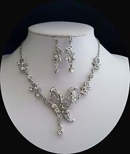 Vintage Butterfly Necklace & Earrings Set Clear Crystals Bridal Jewelry N3024*