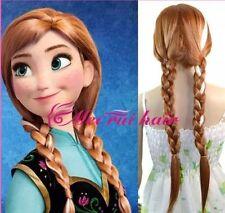 FROZEN ANNA Wig adjustable for Child or Adult Dark Hair Plait Ponytail Princess