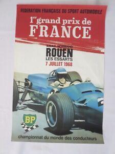 1968 Rouen Les Essarts Grand Prix de France Racing Event Poster - Authentic