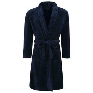 Winter Warm Fleece Dressing Gown with Belt Mens Navy