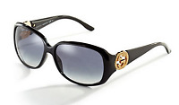 GUCCI GG 3578/S D28JJ Oval Black Gold Crystal Logo Women Gradient Sunglasses