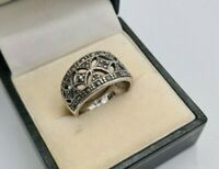LOVELY VINTAGE WIDE SOLID STERLING SILVER MARCASITE RING BAND SIZE L