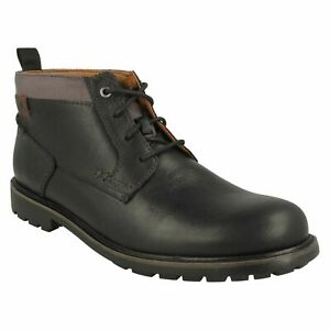 BOWZER MID MENS CLARKS LACE UP COMFORT LEATHER DRESS CASUAL CHUKKA BOOTS SIZE