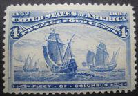 U S stamps Scott 233 four cent Columbian expo issue MH/OG/VF+