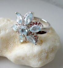 Ring mit Blautopas - 925er Silber - rhodiniert - Gr. 17,2 - Granat - Topas