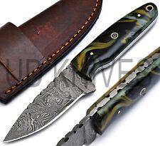 UD HANDMADE FIXED BLADE 1095 DAMASCUS ART HUNTER FULL TANG SKINNER KNIFE B-10459