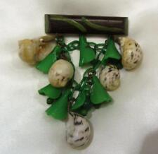 Shell - Glass - Wood & Plastic   Mixed Medium Brooch  Circa 1950's