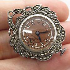 17 Jewels Swiss Antique 925 Sterling Silver Marcasite Gem Women's Watch Pendant