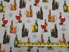 Cheers Beer Bottles Mugs of Brew  on Grey  BY YARDS Robert Kaufman Cotton Fabric