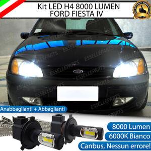 KIT FULL LED FORD FIESTA MK4 DAL 09/1999 IN POI LED H4 6000K BIANCO NO ERROR