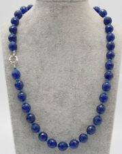 Natural Fashion Faceted Blue Gemstone Round Beads Necklace 18'' AAA