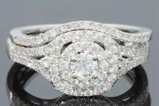 10K WHITE GOLD .93 CARAT WOMENS REAL DIAMOND ENGAGEMENT RING WEDDING BAND SET