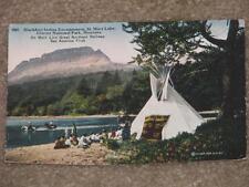 Blackfeet Indian Encampment St. Mary Lake, Montana, used vintage card
