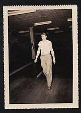 Old Vintage Antique Photograph Sexy Young Man Standing in Alley of Bowling Lanes