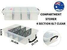 Plastic Storage Box with Removable Dividers Containers  Tubs 6L Clear Container