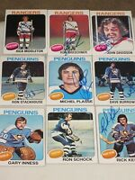 LOT OF 99 DIFFERENT AUTOGRAPHED 1975 TOPPS HOCKEY CARDS