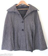 NEW! Cejon Beautiful Winter Wool Poncho Black White Gold Cape Coat S/M $189