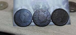 Lot of 3 Large Cents 1c 1817, 1820 & 1851 Environmental Damage