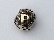 """Authentic Pandora two tone silver 14ct gold Letter """"B"""" 790298B - retired"""