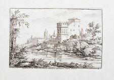 c1750 Roma Rom Rome Tiber Tevere Italia Italy Papa Giulio Kupferstich Duflos
