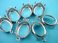 Silver Tone Oval Prong Settings 18x13 2 Ring Open Backs - 12 Pieces