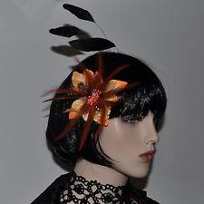 ORANGE Blume Blüte Federn Brosche Haarklammer Haarclip Fascinator Ansteckblüte