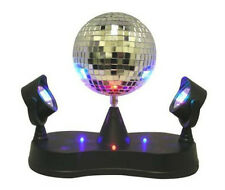 Mirror Rotating Disco Ball Party LED Light Lamp w/ Two Double Twin Projectors