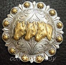 "WESTERN HORSE SADDLE TACK CAP THREE HORSE HEAD BERRY SADDLE CONCHO SIZE 2-3/8"""