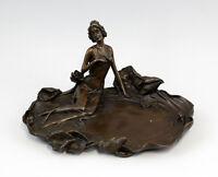 9937416-dss Bronze-Plastik Milo Jugendstil Elfenhafte Dame am Teich 21x15x11cm