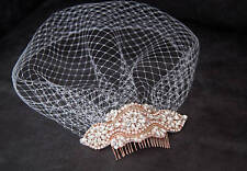 Rose gold comb Crystal Birdcage Veil and Comb ,Crystal Veil and ivory pearls ivo