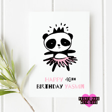 Panda birthday card personalised | any age any name | Happy birthday