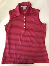Golf Women's Nike Golf Fit Dry Polo Pink Stripe S Sleeveless Shirt Collar Blue