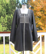 CAbi Turkish Delight Jacket  #184 Charcoal Embroidered Beaded Jacket Sz 8