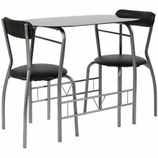 Flash Furniture Sutton 3 Piece Space-Saver Bistro Set with Black Glass Top Table