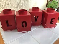 SET OF 4 RED HOME LOVE TEA LIGHT HOLDERS METAL CANDLE HOLDERS NEW
