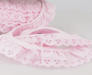 Gathered Cotton Broderie Anglaise 34mm Deep, 17 colours - 9.6m Lengths