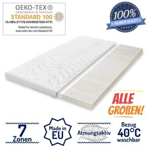 100% Latex Matratzen Topper H2 7 Zonen ÖKO-TEX Matratzenauflage Orthopädisch