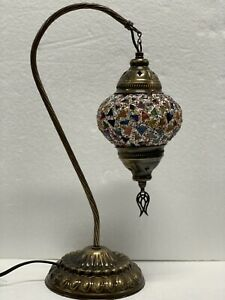 Authentic Turkish Moroccan Mosaic Colorful Swan  Neck Table Bedside Lamp #13-3