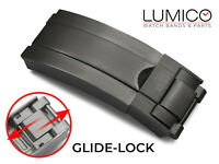For ROLEX Leather Rubber Watch Strap GlideLock Deployment Clasp Black 16mm