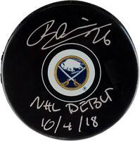 Rasmus Dahlin Buffalo Sabres Signed Hockey Puck with NHL Debut 10/4/18 Insc