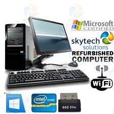 Windows 10 Barato HP Ordenador Juego Completo Torre Monitor Rápido Dual Core PC