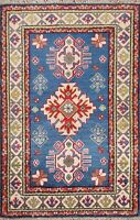 Geometric Super Kazak Oriental Area Rug Hand-Knotted Home Decor Wool 3x4 Carpet