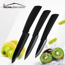 "New listing 3Pc Ceramic Kitchen Knife Set 3"" 4"" 5"" Chef Cooking Black Non-stick Ultra Sharp"