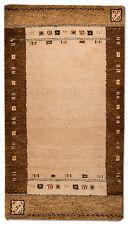 Tapis moderne GABBEH Pont 141 x 75 cm beige noué à la main laine G1203