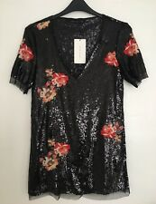 ZARA Women Black Sequin Floral Embroidered Dress Size L BNWT  RRP£69.99