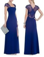 New AUTH Bcbg Maxazria Julia Fitted Gown/ Dress with Lace Back in Blue $398