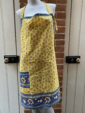 More details for vintage yellow blue floral tie waist full apron